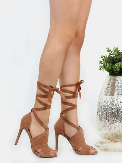 Tie Up Stiletto Suede High Heels CAMEL