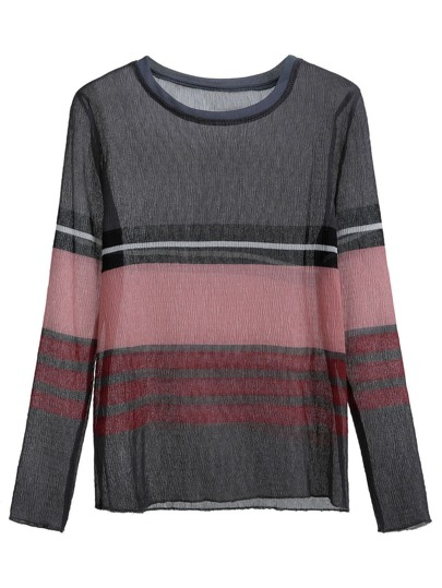 Color Block Striped Sheer T-shirt