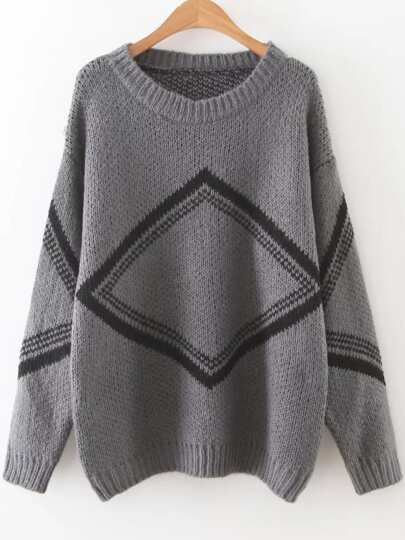 Grey Diamond Pattern Drop Shoulder Sweater