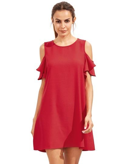 Burgundy Cold Shoulder Ruffle Sleeves Shift Dress