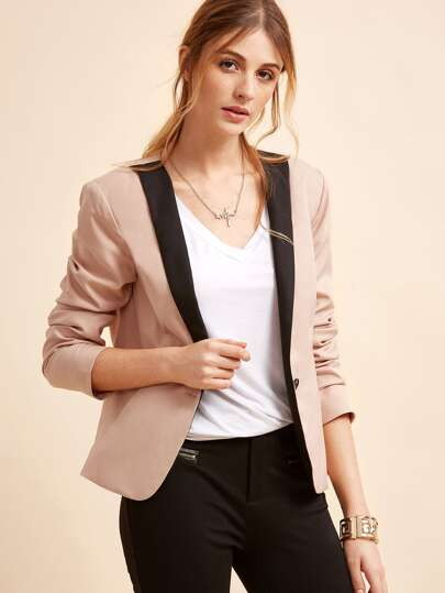 Pink Contrast Shawl Collar One Button Blazer