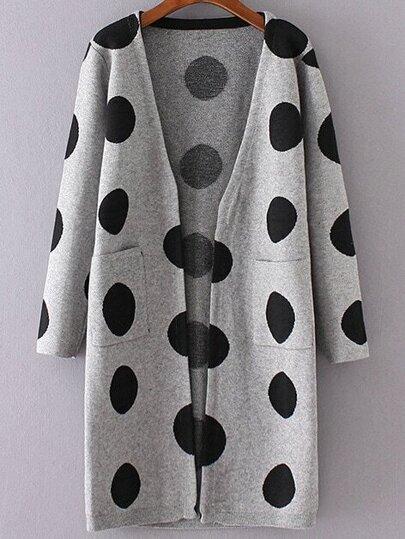 Grey Polka Dot Collarless Long Sweater Coat
