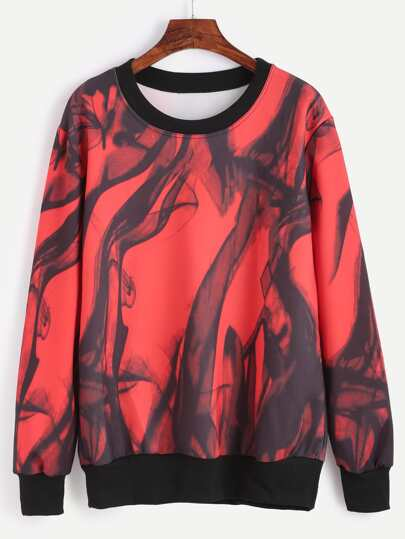 Contrast Trim Abstract Print Sweatshirt