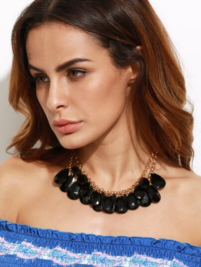 Black Double Layer Water Drop Statement Necklace