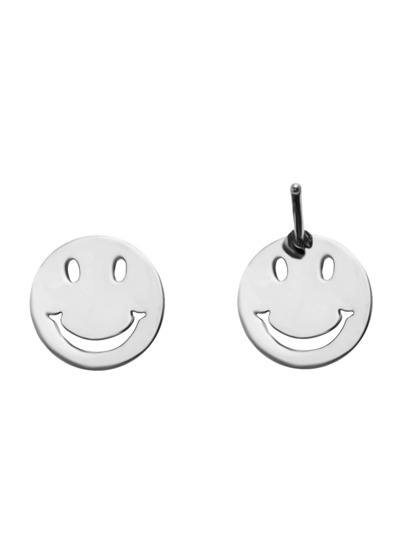 Silver Plated Smiley Face Stud Earrings