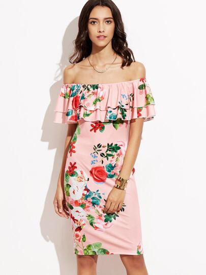 Pink Floral Print Off The Shoulder Ruffle Dress
