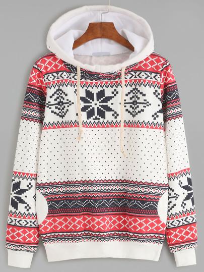 Snowflake Print Hooded Sweatshirt