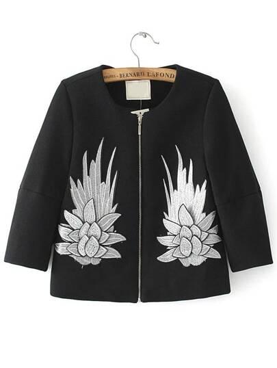 Black Embroidery Zipper Up Coat