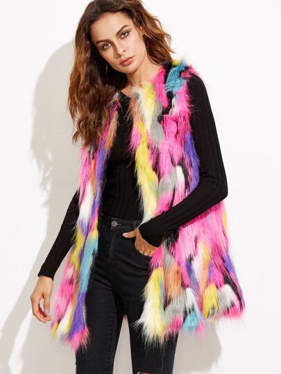 Multicolor Open Front Faux Fur Vest