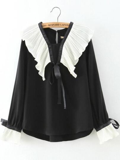 Black Pleated Dip Hem Chiffon Blouse With Bow Tie