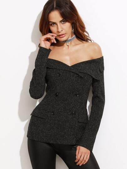 Black Off The Shoulder Double Breasted Tweed Blazer