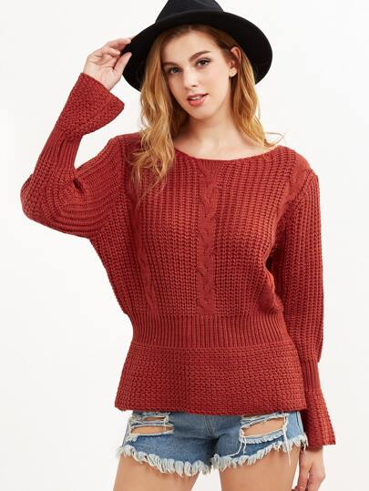 Red Mixed Knit Bell Cuff Peplum Sweater