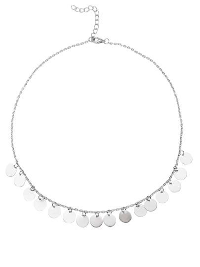 Delicate Halskette Münze Quaste -silber