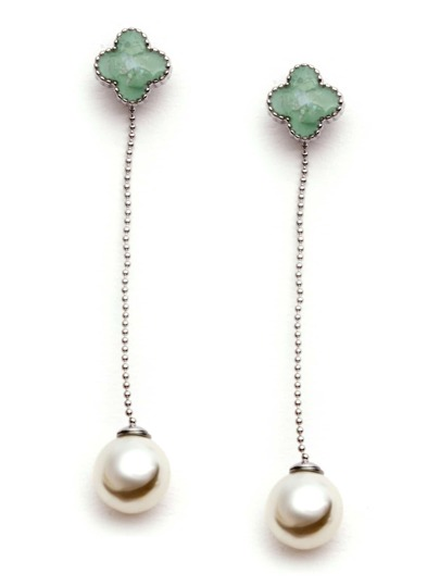 Green Four Leaf Clover Faux Pearl Drop Earrings