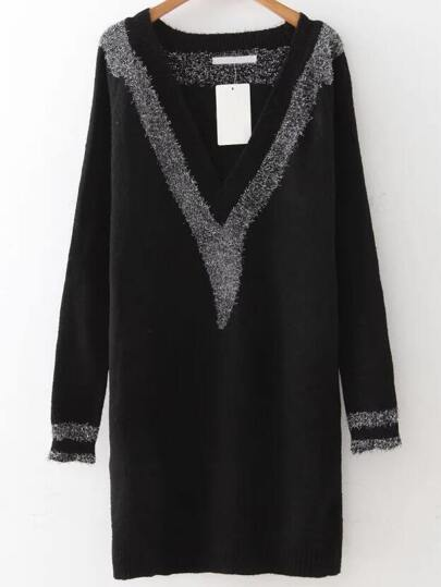 Black V Neck Contrast Trim Sweater Dress