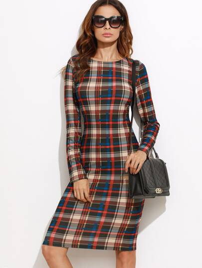 Multicolor Plaid Long Sleeve Pencil Dress