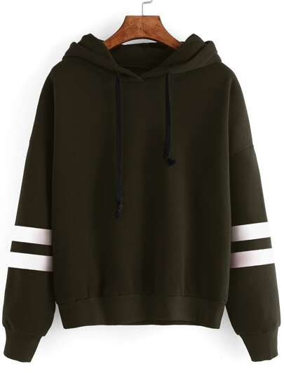 Drop Shoulder Striped Sleeve Hoodie