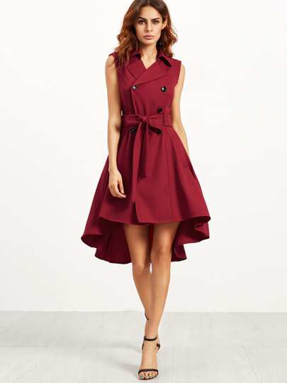 Burgundy Double Breasted Belted Sleeveless Trench Dress