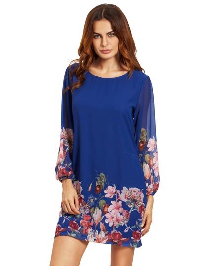 Blaues Laterne-Hülsen-Blumenverschiebung-Kleid