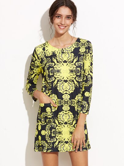 Floral Print Pockets Tee Dress