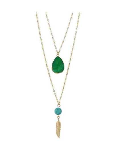 Collier en couche doublé avec plume et strass en style de boho - vert