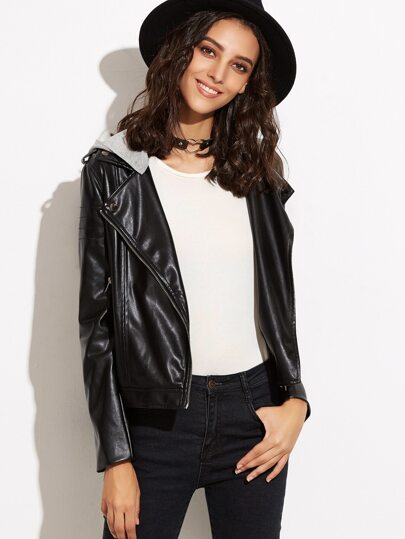 Black Faux Leather Biker Jacket With Detachable Hood