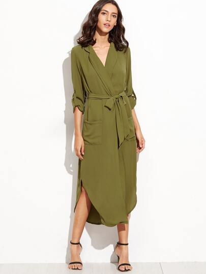 Army Green Self Tie Warp Dress With Pockets