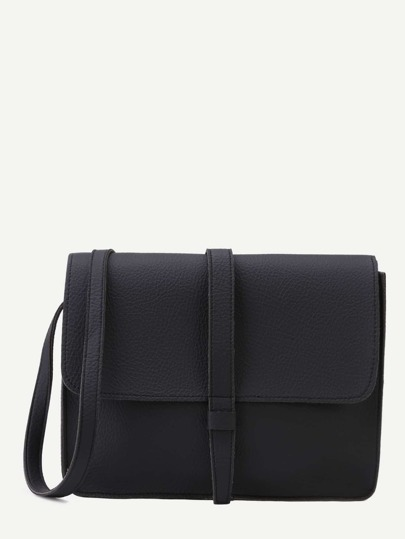 Black Faux Leather Flap Messenger Bag