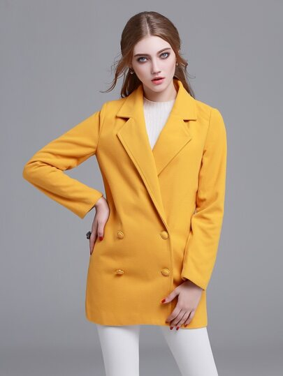 Yellow Notch Lapel Double Button Coat