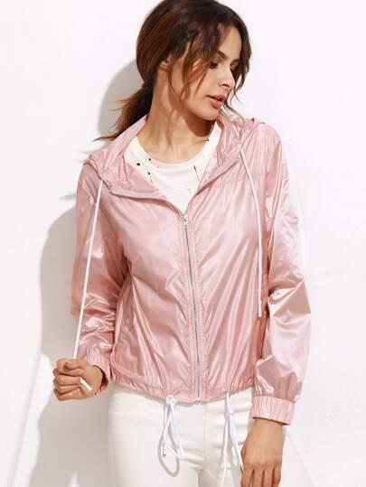 Pink Zip Up Drawstring Hem  Hooded Jacket