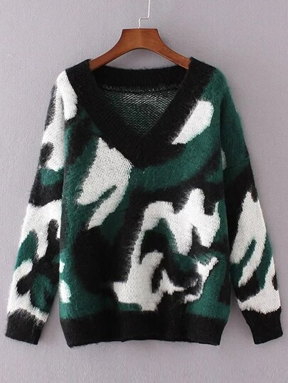 Dark Green Leopard Print Drop Shoulder Sweater