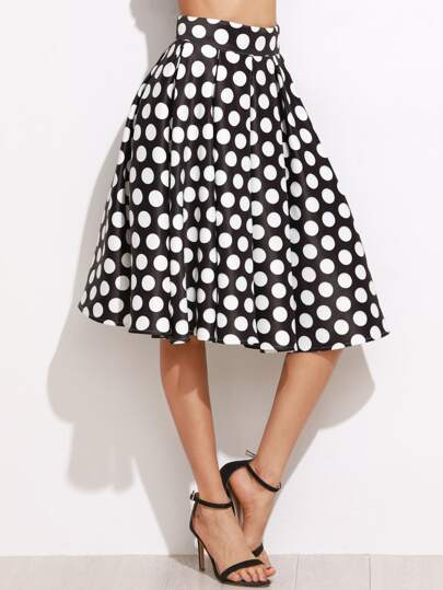 Black Polka Dot Print Box Pleated Skirt