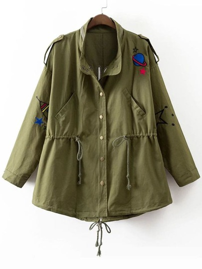 Army Green Letter Embroidery Drawstring Coat With Pockets