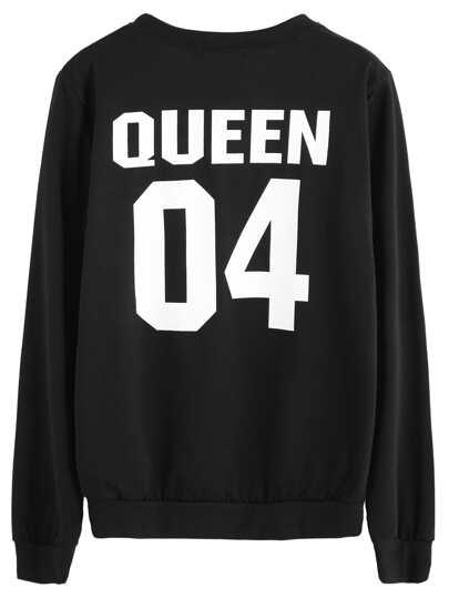 Black Varsity Print Sweatshirt