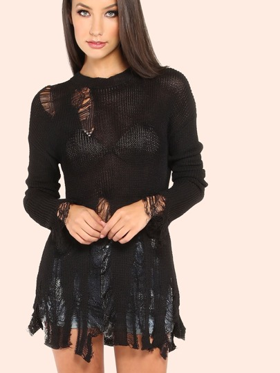 Lightweight Distressed Waffle Knit Sweater BLACK