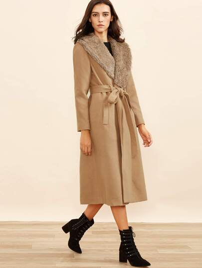 Camel Faux Fur Collar Wrap Coat