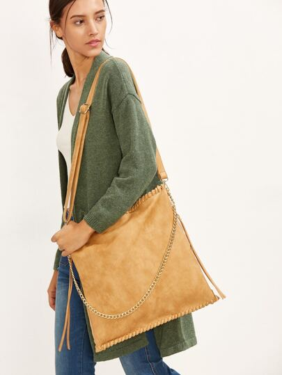 Khaki PU Zip Closure Shoulder Bag With Chain Strap