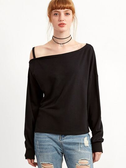 Black One Shoulder Split Hem Sweatshirt