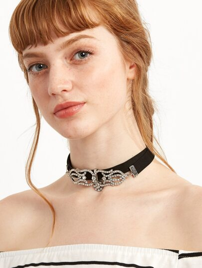 Black Layered Hollow Rhinestone Choker Necklace