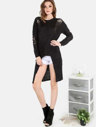 Frayed Knit Sweater Tunic BLACK