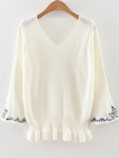 White V Neck Embroidery Sleeve Peplum Sweater