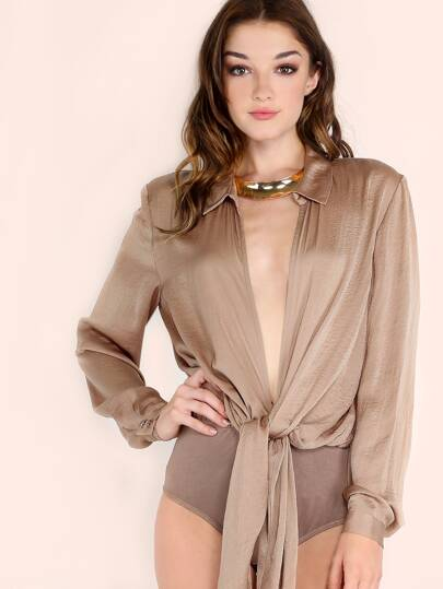 Camel Tie Front Blouse Top Bodysuit