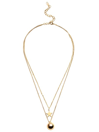 Gold Double Layer Star Ball Pendant Necklace