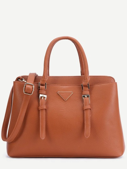 Brown Pebbled PU Double Buckle Handbag With Strap