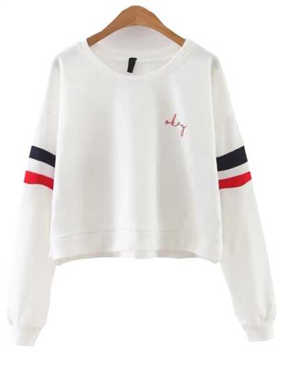 White Striped Split Side Sweatshirt
