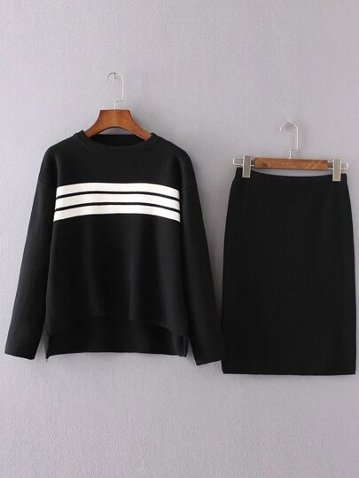 Black Striped High Low Sweater With Skirt
