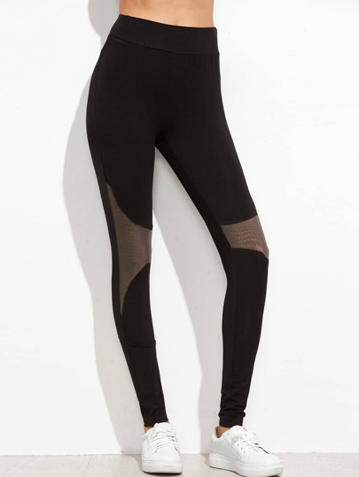 Black Contrast Mesh Panel Leggings