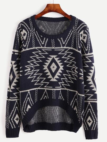 Navy Tribal Pattern High Low Sweater