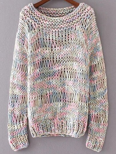 Multicolor Marled Knit Hollow Out Sweater