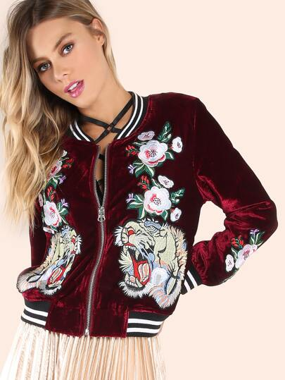 Embroidered Floral Tiger Velvet Bomber Jacket BURGUNDY